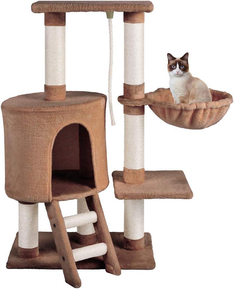 MC Star Árbol para Gato con Rascador Hamaca Plataformas Arañazo Juguete de Gatos de Sisal Natural 96cm, Marrón