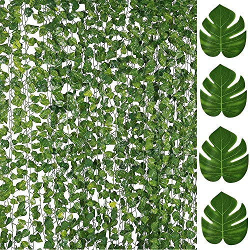 84FT Artificial Vines with Leaves Fake Ivy Foliage Flowers Hanging Garland 12PCS Individual Strands plus 12PCS Faux Monstera Tropical Palm Leaves,Home Party Wall Garden Wedding Decors Indoor (Tropical Wall Hanging)