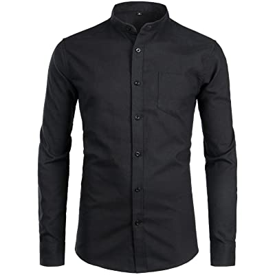 ZEROYAA Men's Hipster Casual Slim Fit Long Sleeve Button Down Oxford Shirts with Chest Pocket at Men's Clothing store