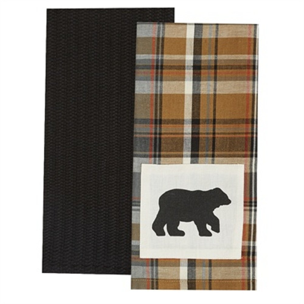 Park Design Cotton Applique Roaring Thunder 2 Dishtowel Set Bear Kitchen Linens