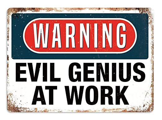 BORJOR Evil Genius -Cartel de Pared estaño Placa Metal ...