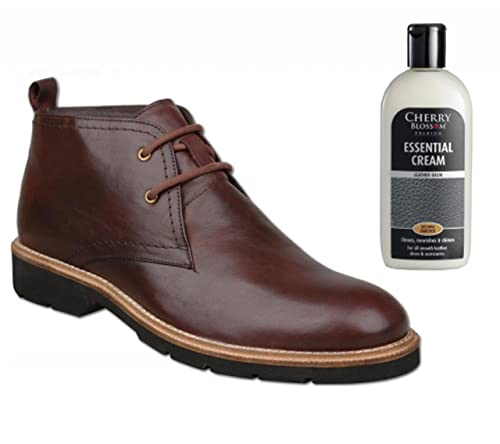 Tsg Mens Oxblood Leather Chukka Boots Bundle With Leather Balm 2 Items