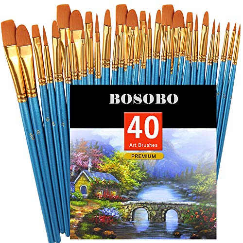 (BOSOBO Pointed-Round Paint Brush, 4 Sets of 10 Pieces Fine Tip Nylon Hair Miniature Paint Brushes for Acrylic Oil Watercolor Gouache, Artist Face Nail Body, Paint by Numbers, Model Craft)