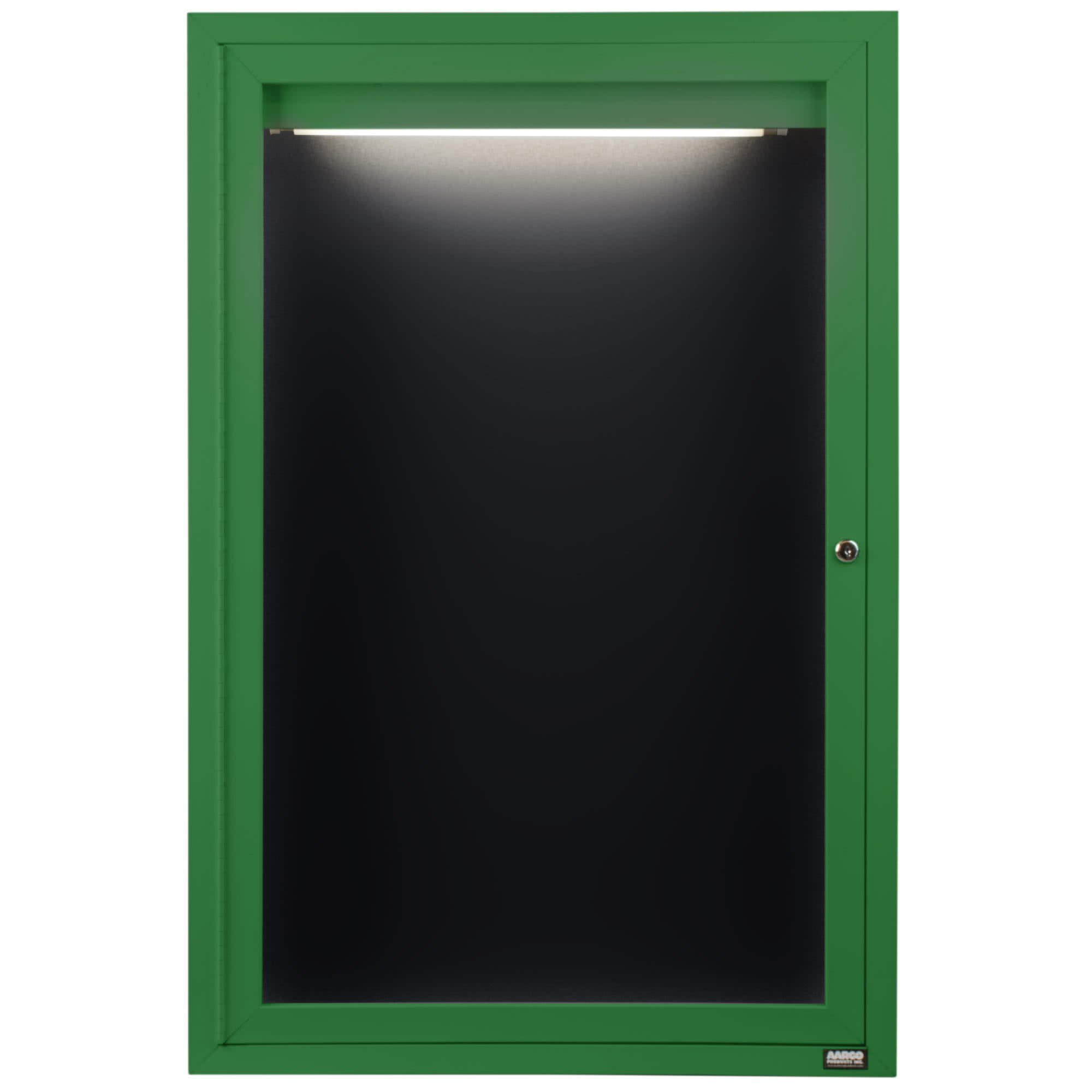 TableTop King ADC3624IG 36'' x 24'' Enclosed Hinged Locking 1 Door Powder Coated Green Aluminum Indoor Lighted Message Center with Black Letter Board
