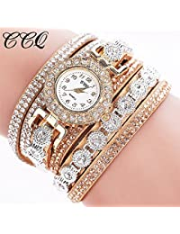 Rhinestone Bracelet Watch,COOKI Analog Fashion Clearance Lady Watches Female watches on Sale Casual Wrist Watches for Women,Round Dial Case Comfortable PU Leather Watch-H14 (Beige)