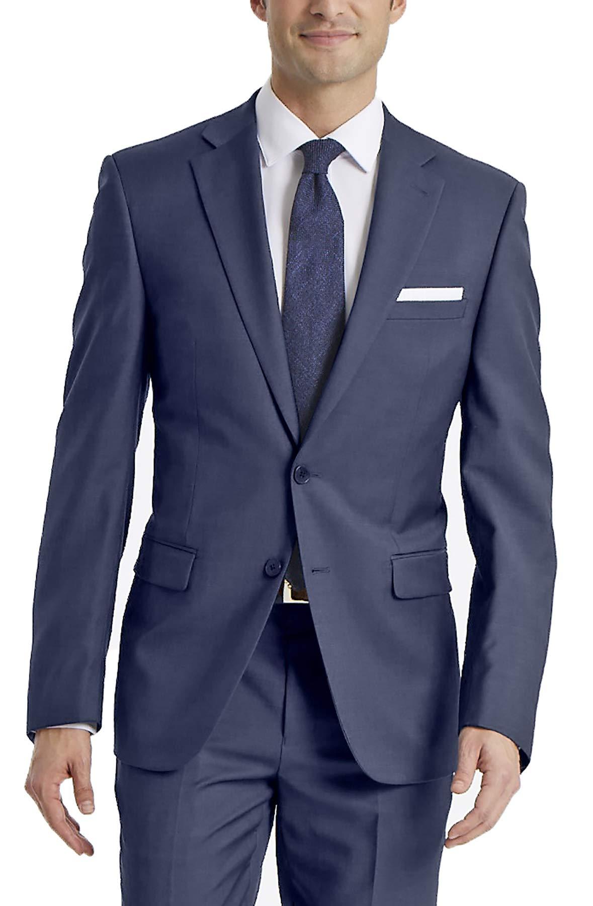 Calvin Klein Men's X-Fit Slim Stretch Suit Separate Blazer (Blazer and Pant), Blue, 40 Short