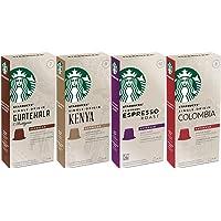 Starbucks Capsules for Nespresso OriginalLine: Colombia, Espresso, Guatemala, Kenya (40 Count) Variety Assortment