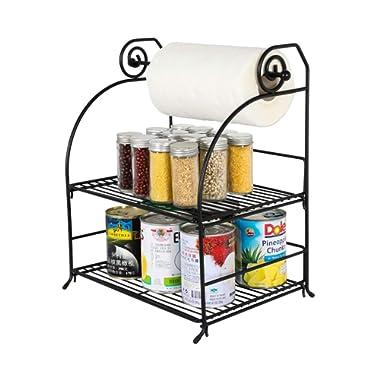 TQVAI 2 Tier Can Rack Organizer with Kitchen Roll Holder, Black
