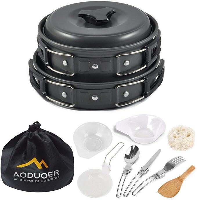 Camping Cook Cooking Cookware Set Aluminium Anodisé pots casseroles Bouilloire Portable