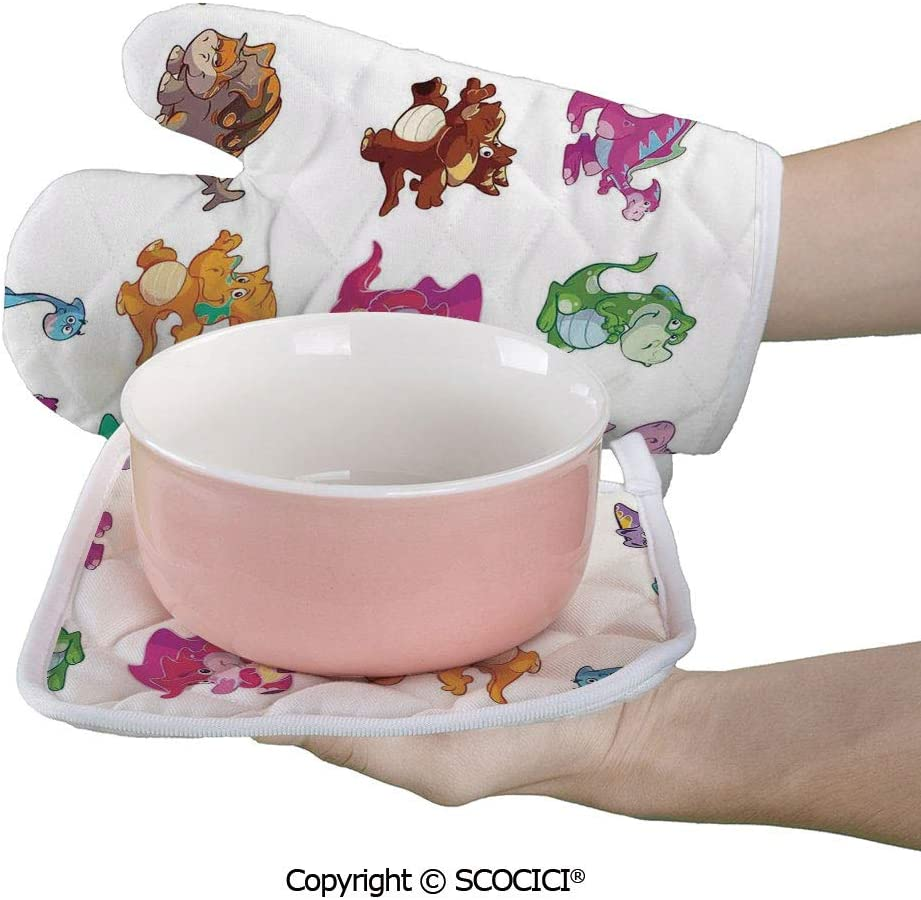 SCOCICI Oven Mitts,Professional Heat Resistant Collection of Cute Dinos Dinosaurs Extinction Funny Comic Child Non-Slip Kitchen Oven Glove for Cooking,Baking,Barbecue Potholders