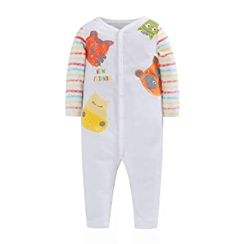 2c8741764 Amazon.com  Newborn Baby Boys Girls Long Sleeve Romper Animals ...