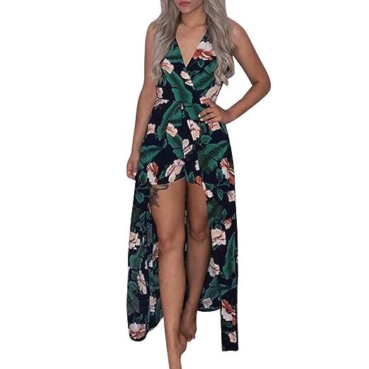 ade180d4201 Orangeskycn Boho Strapless Jumpsuit Printing Playsuit Dress Summer Beach  Rompers Green