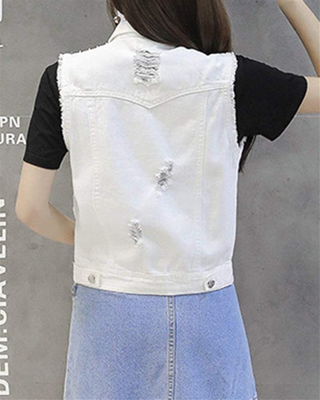 BOLAWOO Damenwesten Fr/ühling Herbst Kurz Jeansweste Retro Mode Marken Casual /Ärmellos Outerwear Gem/ütlich Revers Mit Taschen M/äntel Jeansjacken
