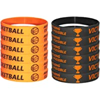 TSLin 24 PCS Basketball Motivational Silicone Wristband for Kids - Personalized Silicone Rubber - Sports Gifts - Party…