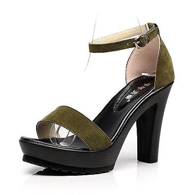 aa164482d9030 Sandales à Talons Hauts en Daim pour Femmes Ouvert Orteil Classique  Bracelet de Cheville Sexy Chaussures de Bas épais Plates-Formes  Amazon.fr   Chaussures ...