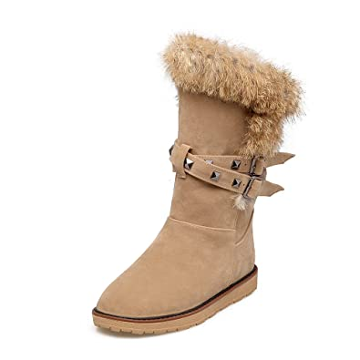 Ladies Slip-On Round Toe Flat Snow Boots Black Apricot Buckle Mid-Calf Women Boots