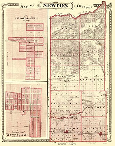 - MAPS OF THE PAST Newton Indiana - Baskin 1876-23 x 29.19 - Glossy Satin Paper