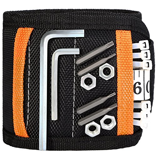 Magnetic Wristband, with 5 Strong Magnets for Holding Screws, Nails, Drilling Bits, Sumind Adjustable Wristband Tools with 2 Storage Bags for Non-magnetic, Valentine's Day Gift for Men (Black)