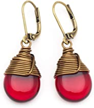 Red Czech Glass Wire-wrapped Drop Antique Bronze Tone Lever-back Earrings 1.4 Inches