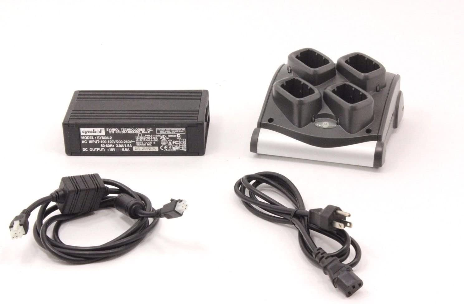 Includes Charger Power Supply DC Line Cord and AC Line Cord Symbol Motorola SAC9000-4000R 4-Slot Battery Charger Kit