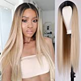 AISI QUEES Long Ombre Blond Wig for Women Dark Roots Middle Part Straight Ash Blonde Wig for Women Heat Resistant Wigs…