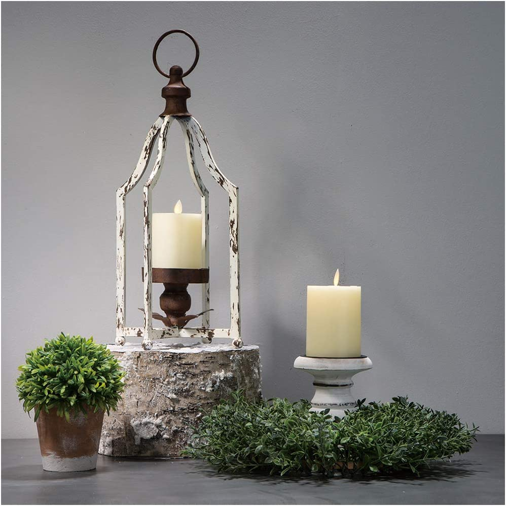 Glitzhome Farmhouse White Wood Metal Lanterns Decorative Hanging Candle Lanterns (White Small)