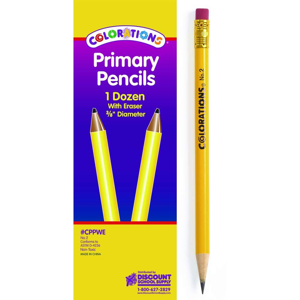 Colorations Primary Pencils with Erasers Set of 12 Pencils No 2 Grade Graphite Classroom Supplies