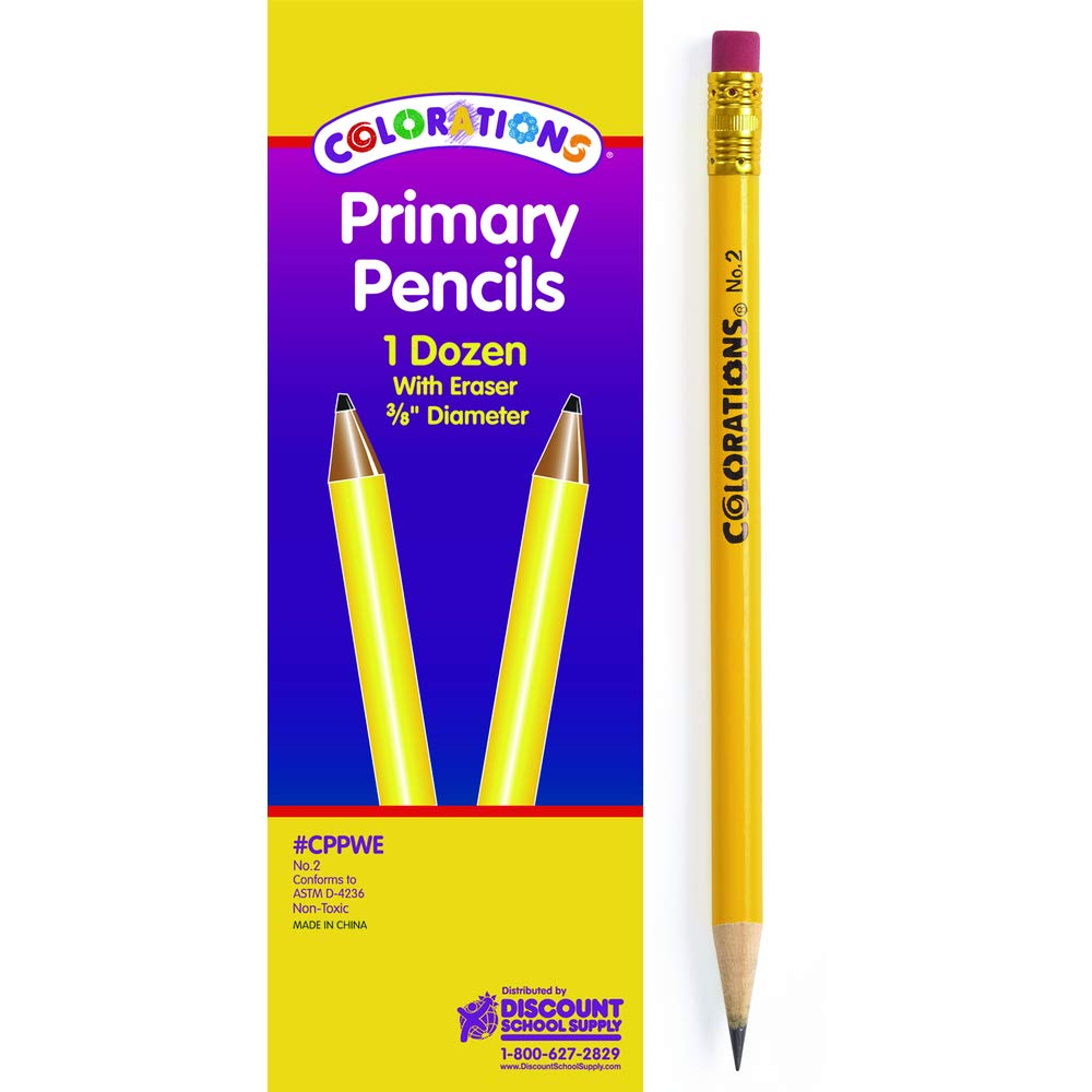Colorations Primary Pencils - with Erasers, Set of 144 (Item # CPPWESET)