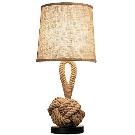 LICIDI Cáñamo Cuerda Retro Mesa lámpara Creativa Dormitorio ...