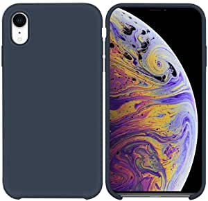 Soft flexible plastic cover, Inside lining cubes Style, for Apple iPhone XR (Dark Blue Matte)