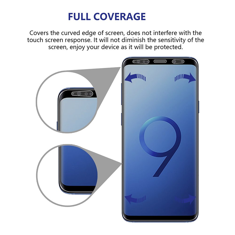 Galaxy S9 Plus Screen Protector Privacy 2-Way Anti Spy (2 Pack) Full Coverage Full Adhesive Glue Nano Shield 3D Curve Fit Soft Film (NOT Tempered Glass) for Samsung S9+ with 1-Pack Back Skin Protector by Omnifense (Image #3)