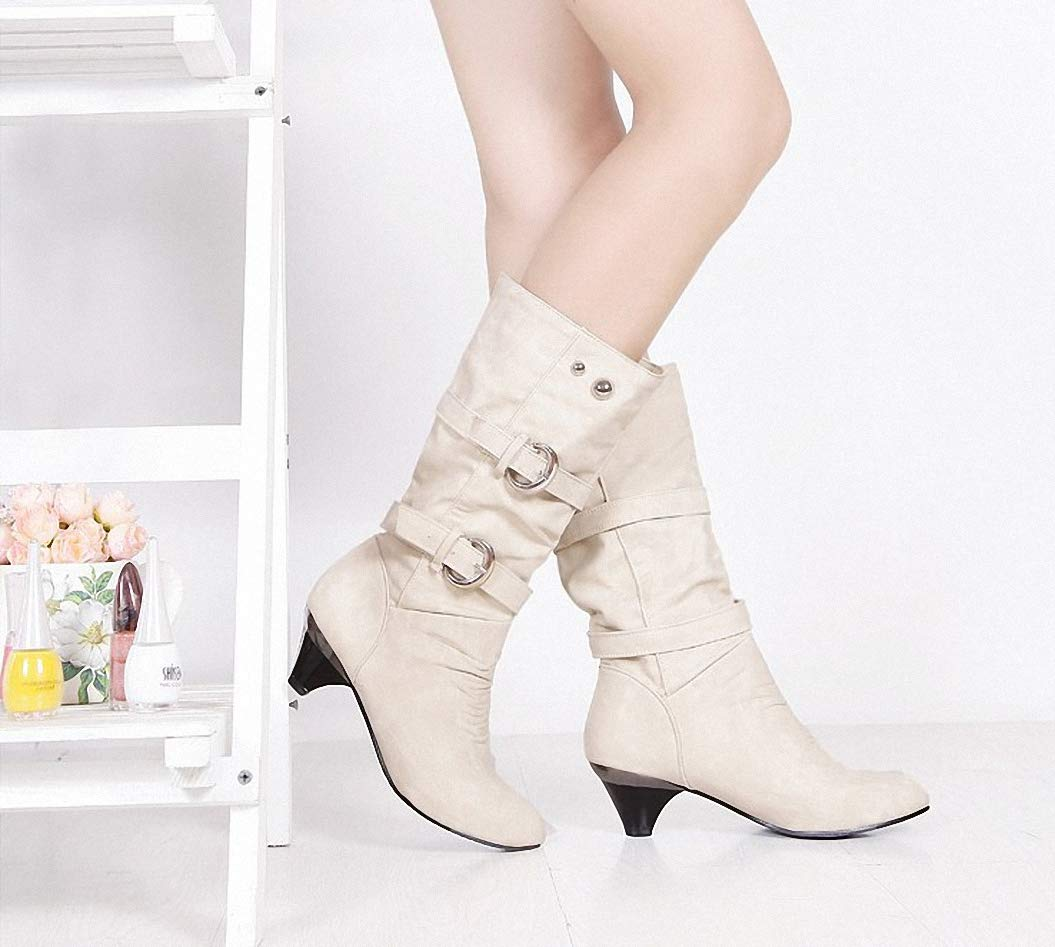 Kyle Walsh Pa Women Winter Mid-Calf Boots Square Heel Soft Casual Female Fashion Vintage Botas
