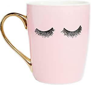 Sweet Water Decor Eyelashes Coffee Mug with Gold Handle | Pink Coffee Mug Lash Mug Eyelash Mug Cute Mugs Eyelashes Mug Wink Mug Girly Coffee Cup, 16 oz (Pink)
