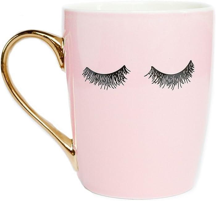 Sweet Water Decor Eyelashes Coffee Mug with Gold Handle   Pink Coffee Mug Lash Mug Eyelash Mug Cute Mugs Eyelashes Mug Wink Mug Girly Coffee Cup, 16 oz (Pink)