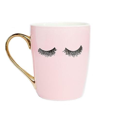 Amazon.com: Taza de café rosa con pestañas para microondas ...