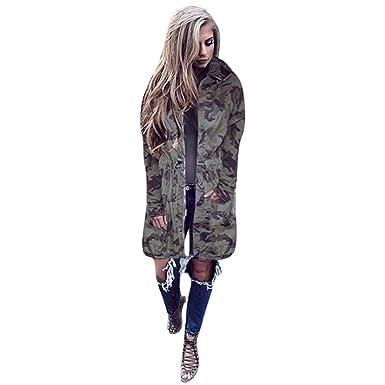 41c39ca207826 Misaky Women's Hooded Long Sleeve Jacket Windbreaker Outwear Camouflage  Long Coat (S, Camouflage)