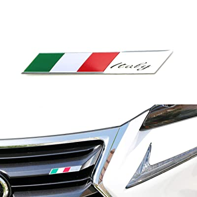 iJDMTOY Aluminum Plate Italian Flag Emblem Badge Compatible With Italian Car Front Grille, Side Fenders, Trunk, Dashboard Steering Wheel, etc: Automotive