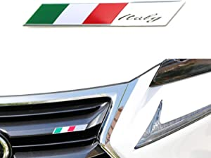 iJDMTOY Aluminum Plate Italian Flag Emblem Badge Compatible With Italian Car Front Grille, Side Fenders, Trunk, Dashboard Steering Wheel, etc