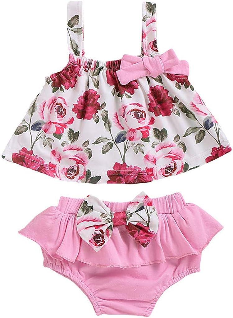 Pink, 3-6 Months Newborn Baby Girls Clothes Sleeveless Floral Plaid Dress Briefs 2PCS Summer Outfits Set