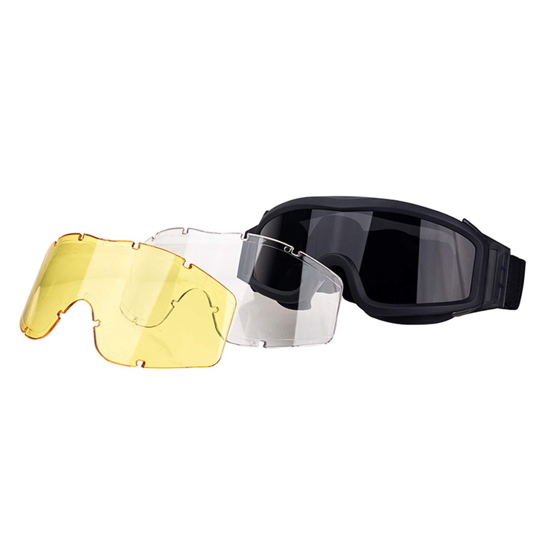 FOCUHUNTER Gafas de Sol Hombre Polarizadas - A Prueba de Viento Gafas Protectoras Resistente a Los Arañazos Gafas para Hombre, Ajustable, UV400 Proteccion Ciclismo, Tiro y Golf. (Negro)