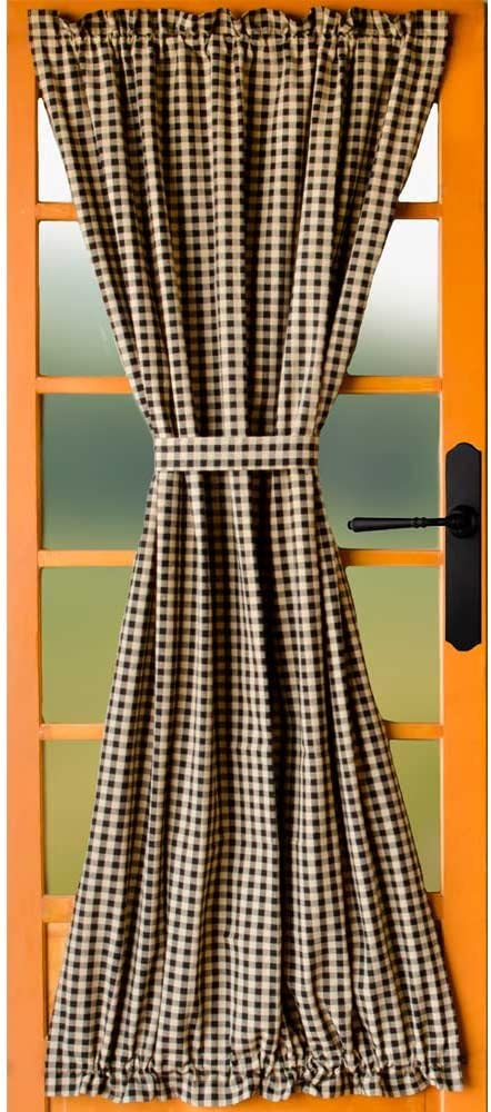 Home Collections by Raghu Heritage House Check Black Unlined French Door Panel
