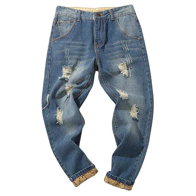 ZODOF Vaqueros de Pierna Larga Casual Azul Lago Pantalones de Mezclilla de algodón para Hombres Ocasionales