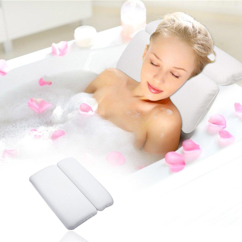 [Badewannenkissen] Aimego Wasserdichtes Bad Kissen/Spa Kissen mit 7 Saugnäpfe Rutschfest, Unterstützung für Kopf, Hals und Rücken, Weiß Hals und Rücken Weiß