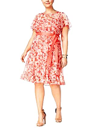 ea69868e6198 Jessica Howard Woman's Plus Size Floral-Print Fit & Flare Dress (Coral) (