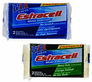 product image for Brillo Basics Estracell No Scratch and Heavy Duty Scrub Sponges 2 Packs of 2