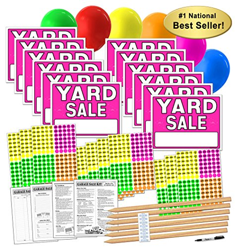 Arrow Sign Double (Yard Sale Sign Kit with Pricing Labels and Wood Sign Stakes (A802Y))