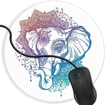 QCFW Alfombrilla de Ratón Tatuaje Decorativo Elefante Mandala ...