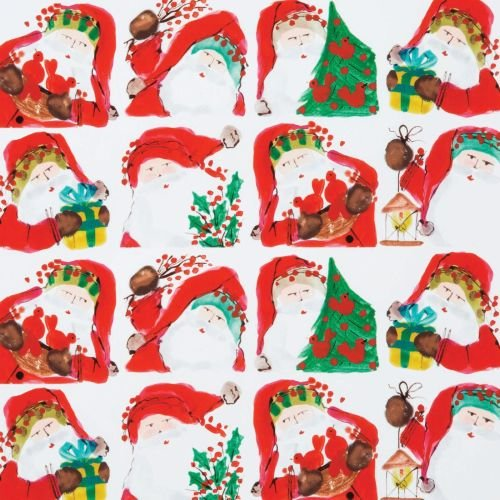 (Vietri Old St. Nick Gift Wrap Roll, Various Santa Scenes in Tiled Pattern)