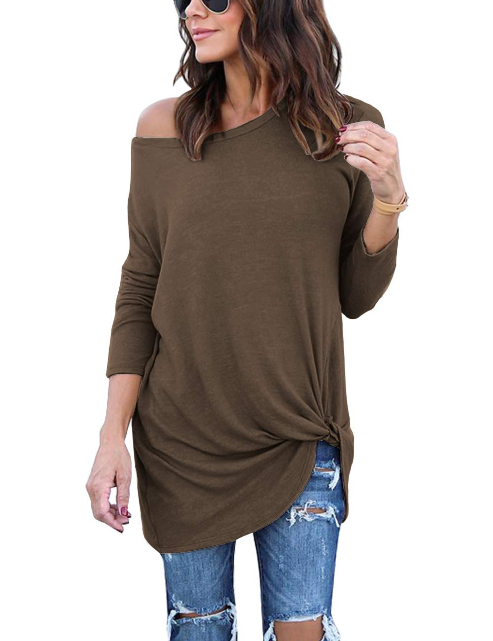Lookbook Store Women's Casual Soft Long Sleeves Knot Side Twist Knit Blouse Top LBS-TO-3288