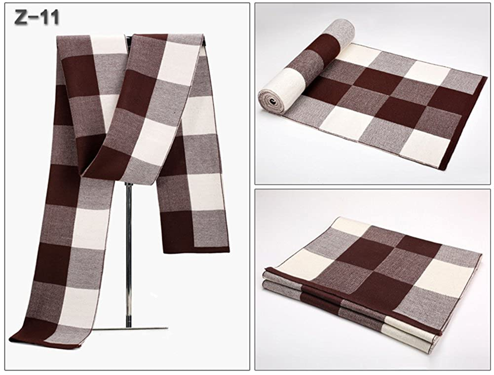 Winter new mens scarf classic Plaid thickening warm long scarf gift box installed